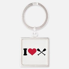 I love Paddling Square Keychain