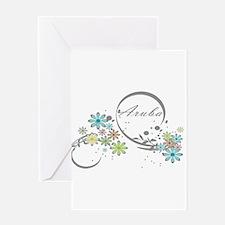 Aruba Floral Beach Graphic Greeting Cards