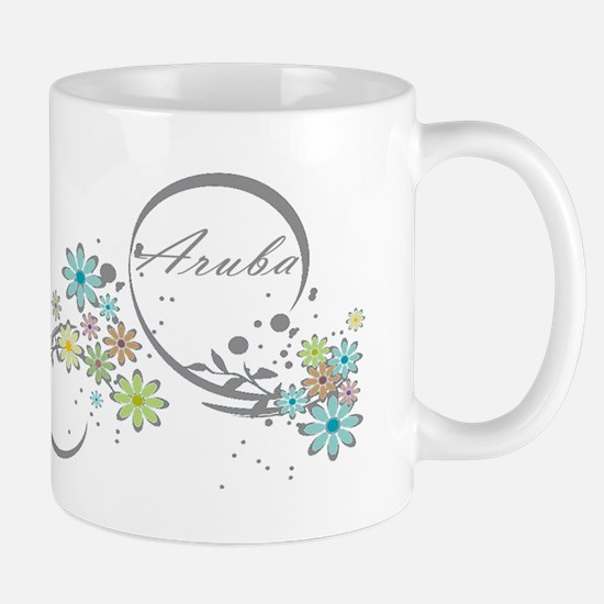 Aruba Floral Beach Graphic Mugs