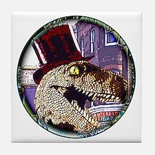 Dinosaur night life round Tile Coaster
