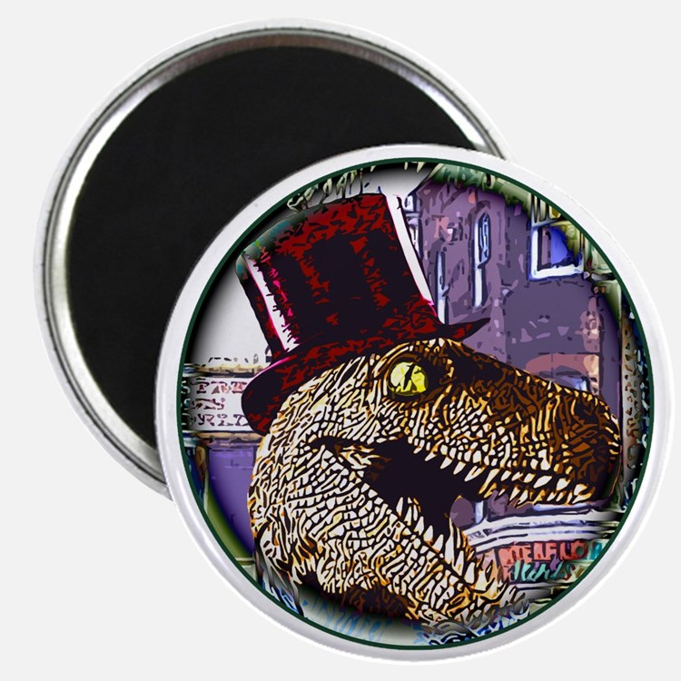 Dinosaur night life round Magnet