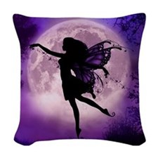 Midnight Stroll Fairy Woven Throw Pillow