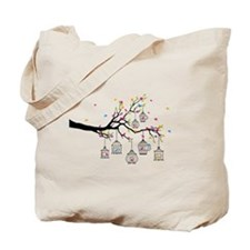 tree branch with birds and birdcages Tote Bag