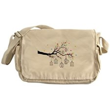 tree branch with birds and birdcages Messenger Bag