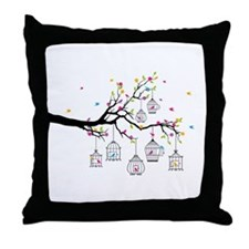 tree branch with birds and birdcages Throw Pillow