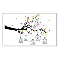 tree branch with birds and birdcages Decal