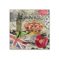 London England Vintage Travel Collage Sticker