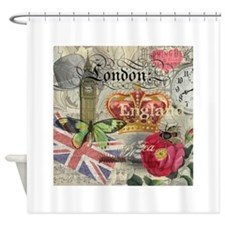 London England Vintage Travel Collage Shower Curta