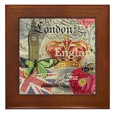 London England Vintage Travel Collage Framed Tile