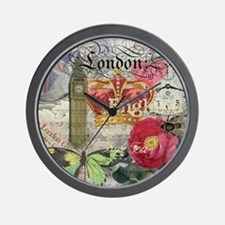 London England Vintage Travel Collage Wall Clock