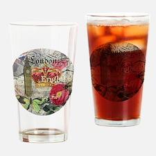 London England Vintage Travel Collage Drinking Gla