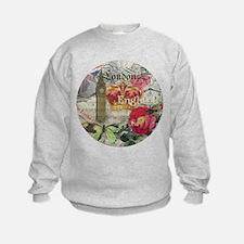 London England Vintage Travel Collage Sweatshirt