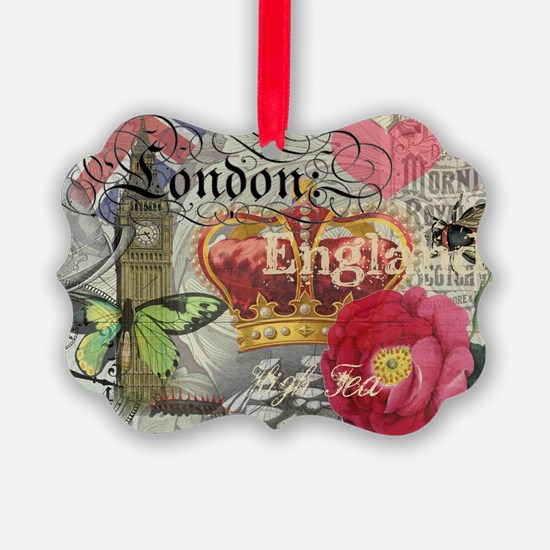 London England Vintage Travel Collage Ornament