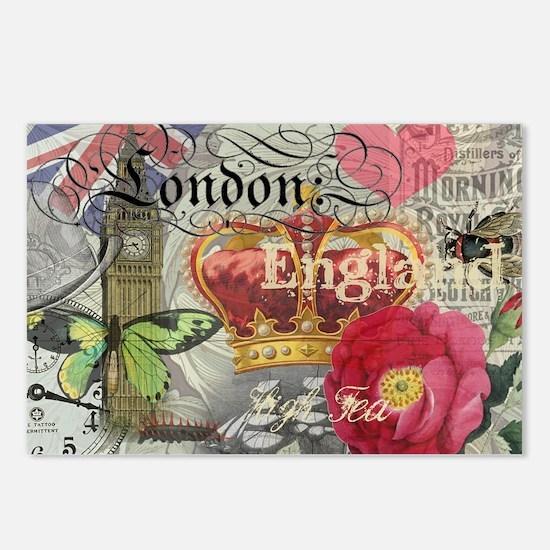 London England Vintage Travel Collage Postcards (P