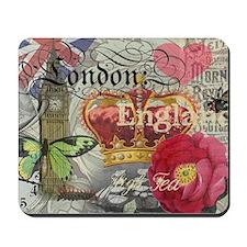 London England Vintage Travel Collage Mousepad