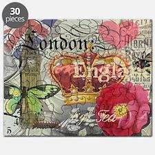 London England Vintage Travel Collage Puzzle