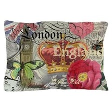London England Vintage Travel Collage Pillow Case