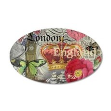 London England Vintage Travel Collage Wall Decal