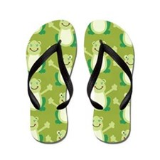 Cute Happy Frog Flip Flops Flip Flops - Green
