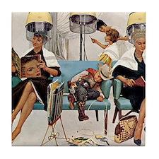 Retro Beauty Salon, Vintage Poster Tile Coaster