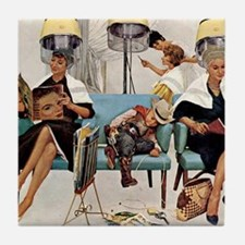 Retro Beauty Salon, Vintage Poster Tile Coaster