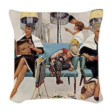 Retro Beauty Salon, Vintage Poster Woven Throw Pil