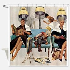 Retro Beauty Salon, Vintage Poster Shower Curtain