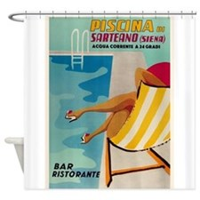 Sarteano, Pool, Travel, Vintage Poster Shower Curt