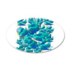 Blue Parakeets Wall Decal