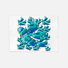 Blue Parakeets 5'x7'Area Rug