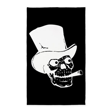 Skull With Top Hat And Cigar 3'x5' Area Rug