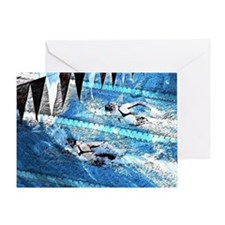 Swim meet in blue Greeting Card