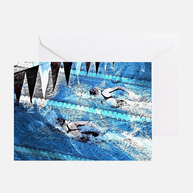 Swim meet in blue Greeting Card