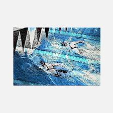 Swim meet in blue Rectangle Magnet