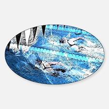 Swim meet in blue Sticker (Oval)