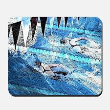 Swim meet in blue Mousepad