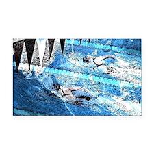 Swim meet in blue Rectangle Car Magnet