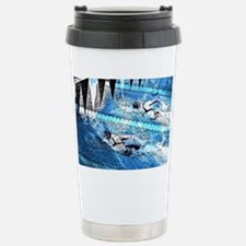 Swim meet in blue Stainless Steel Travel Mug