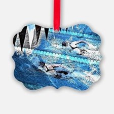 Swim meet in blue Ornament