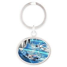 Swim meet in blue Oval Keychain