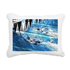 Swim meet in blue Rectangular Canvas Pillow