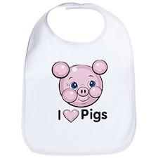 I Heart Pigs Bib