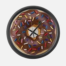 Chocolate Donut and Rainbow Sprin Large Wall Clock