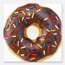 """Chocolate Donut and Rain Square Car Magnet 3"""" x 3"""""""