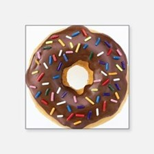 "Chocolate Donut and Rainbow Square Sticker 3"" x 3"""