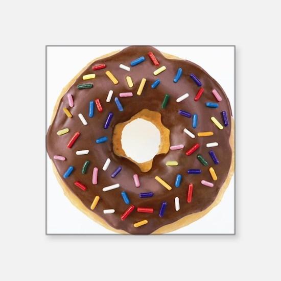 "Chocolate Donut and Rainbow Square Sticker 3"" x 3"""