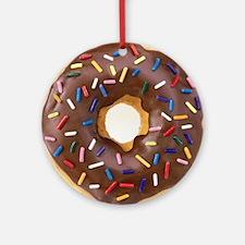 Chocolate Donut and Rainbow Sprinkl Round Ornament