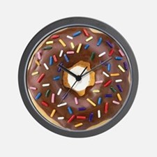 Chocolate Donut and Rainbow Sprinkles Wall Clock