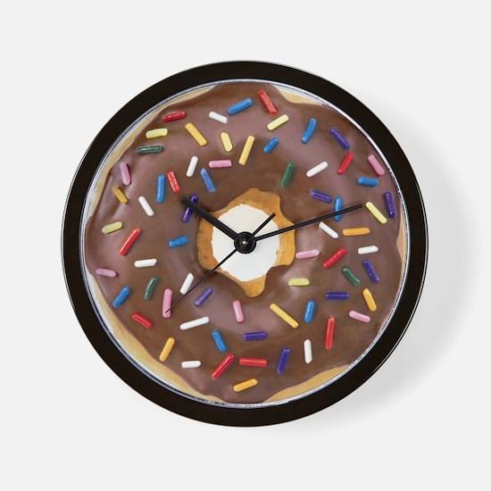 Chocolate Donut and Rainbow Sprinkles Wall Clock
