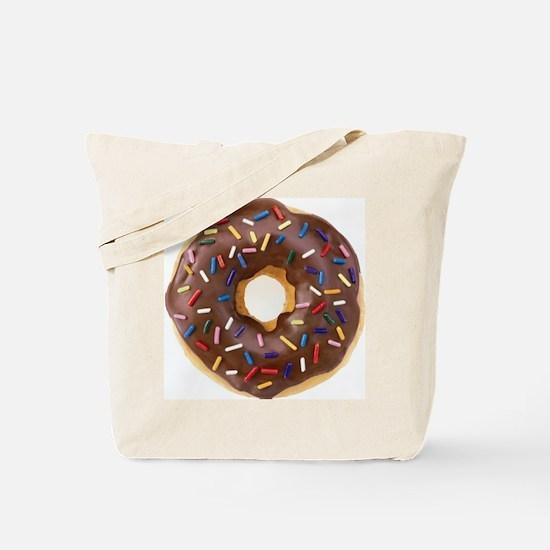 Chocolate Donut and Rainbow Sprinkles Tote Bag
